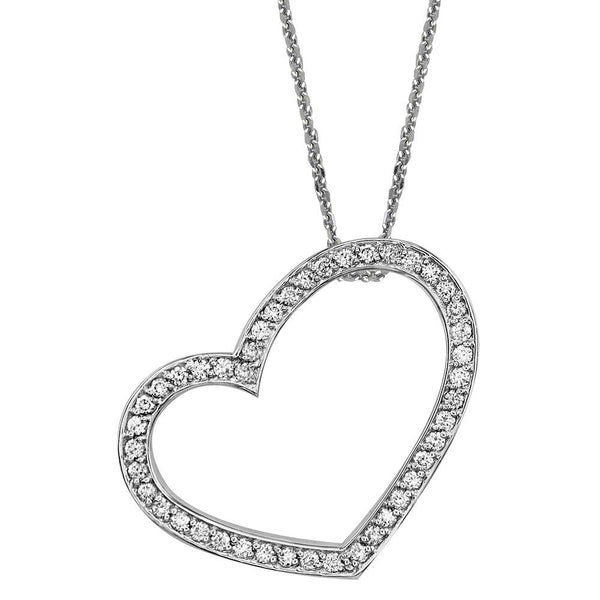"Medium Open Diamond Heart Pendant and Chain in 14K White Gold, 0.45CT, 18"" Inches"
