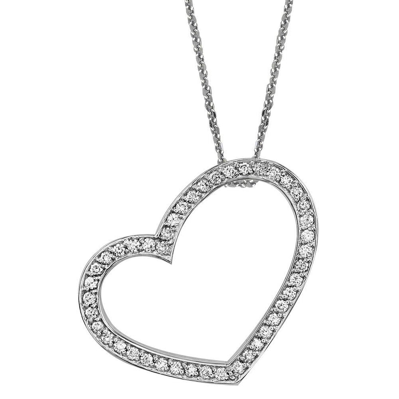 "Medium Open Cubic Zirconia Heart Pendant and Chain in Sterling Silver, 18"" Inches"