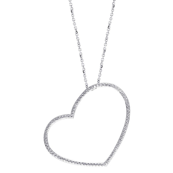 Extra Large Thin Open Heart Necklace with Cubic Zirconias in Sterling Silver
