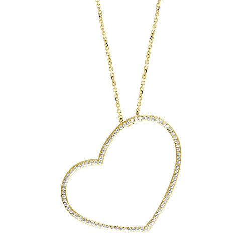 Extra Large Thin Open Diamond Heart Necklace, 0.86CT in 14K Yellow Gold