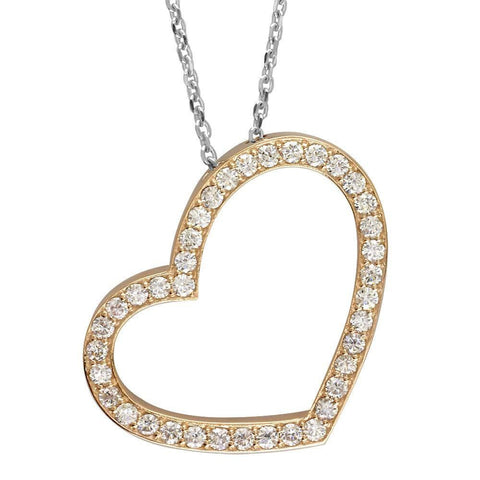Open Diamond Heart Necklace, 2.00CT in 14K Pink and White Gold
