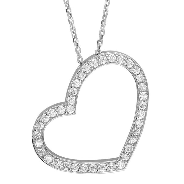 Open Diamond Heart Necklace, 2.00CT in 14K White Gold