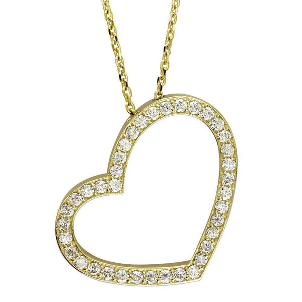 Open Diamond Heart Necklace, 2.00CT in 14K Yellow Gold