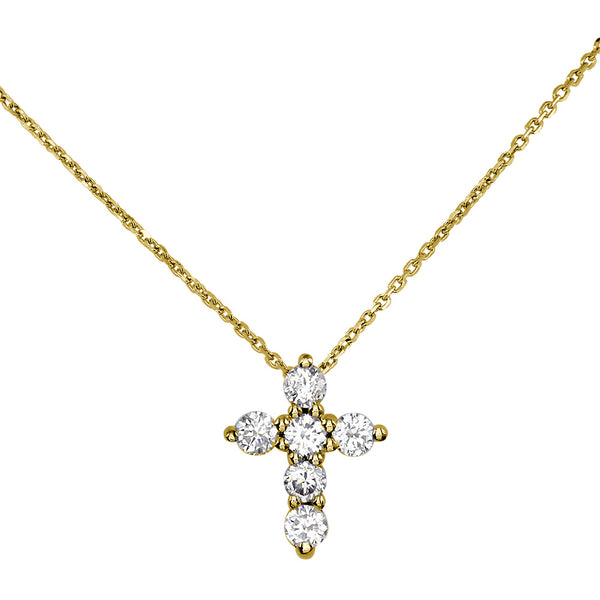 Small Diamond Cross Pendant and Chain, 0.40CT in 14K Yellow Gold