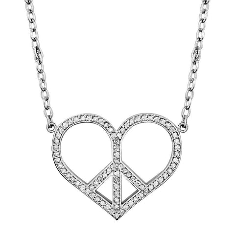 Large Diamond Heart Peace Sign Charm, 0.77CT, 1 1/4 Inch in 14K White Gold