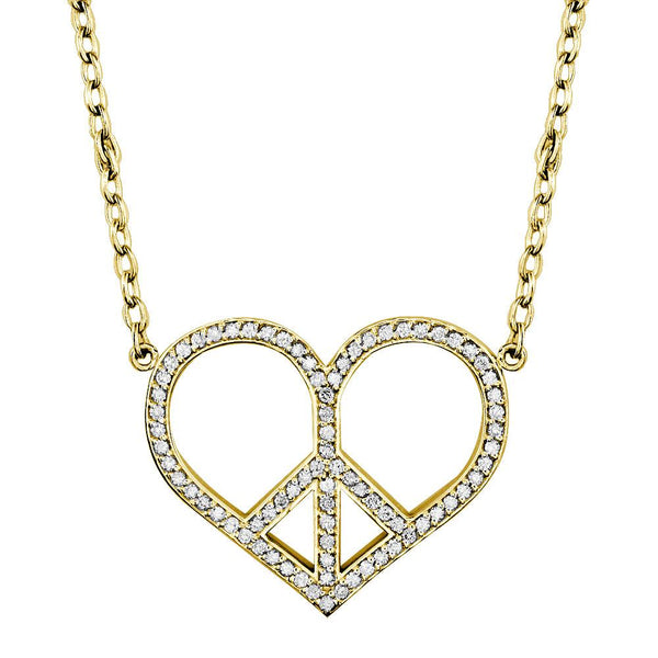 Large Diamond Heart Peace Sign Charm, 0.77CT, 1 1/4 Inch in 14K Yellow Gold