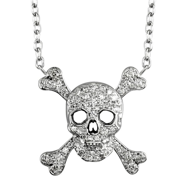 Large Jolly Roger Skull and Crossbones Necklace With Cubic Zirconias in Sterling Silver