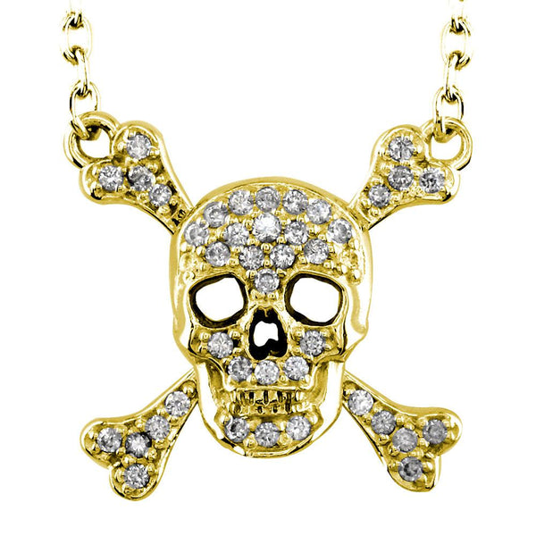 Large Diamond Jolly Roger Skull and Crossbones Necklace in 14K Yellow Gold