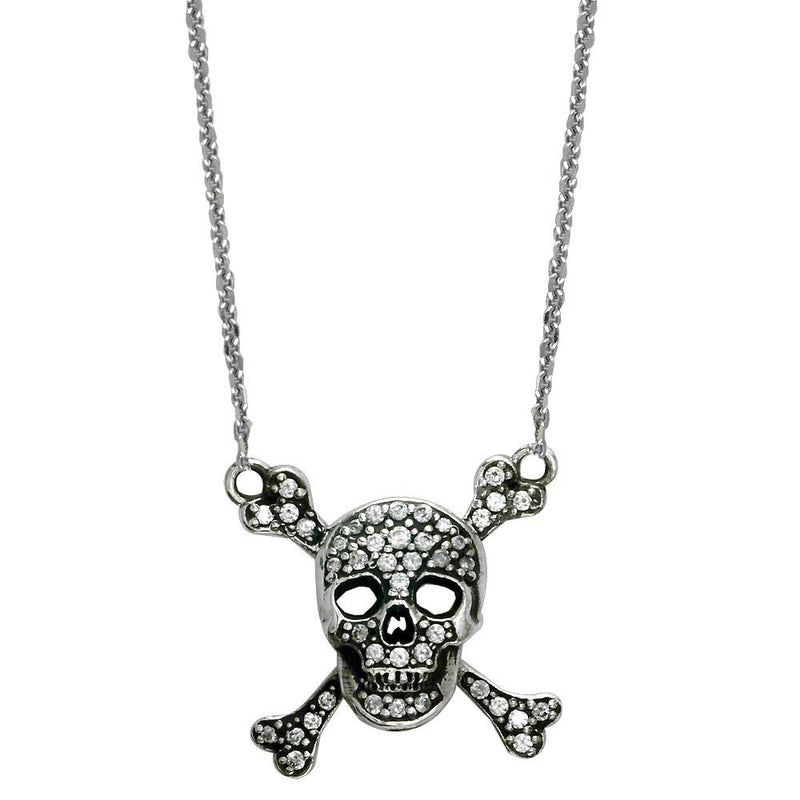 Small Black Jolly Roger Skull and Crossbones Necklace With Cubic Zirconias in Sterling Silver
