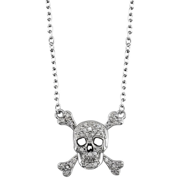Small Jolly Roger Skull and Crossbones Necklace With Cubic Zirconias in Sterling Silver