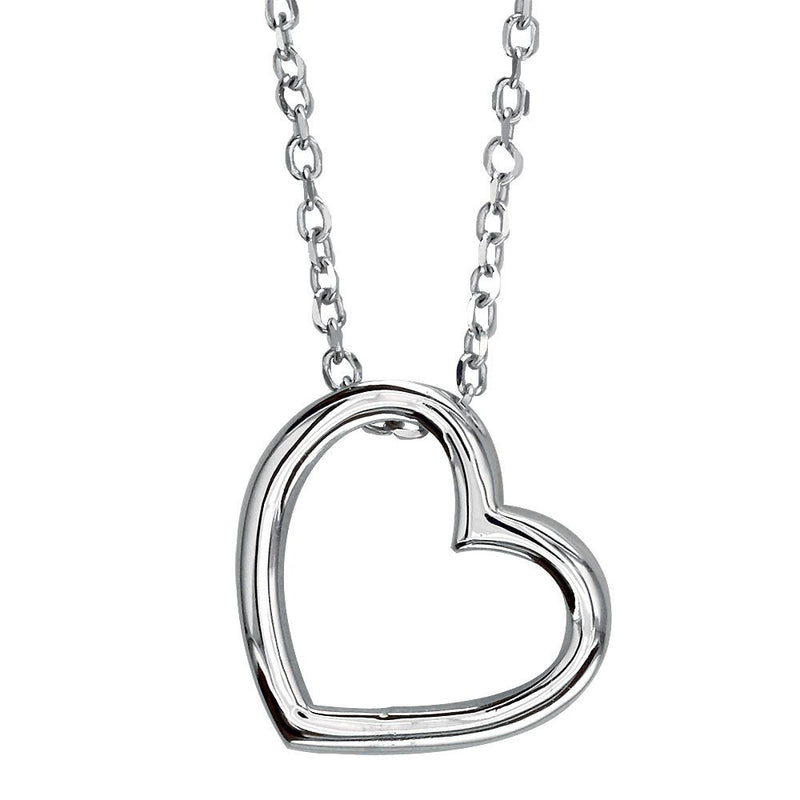 Open Heart Charm and Chain in Sterling Silver
