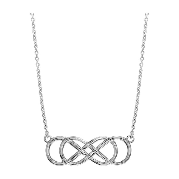 "Extra Large Sideways Double Infinity Symbol Charm and Chain in 14K White Gold, 1.5"", 18"" Total Length"