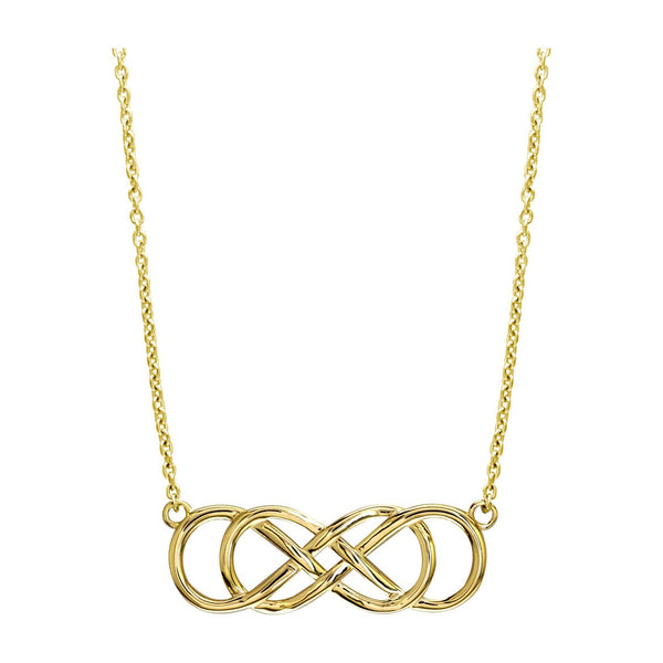 Extra Large Sideways Double Infinity Symbol Charm and Chain in 14K Yellow Gold, 1.5