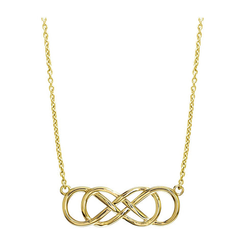 "Extra Large Sideways Double Infinity Symbol Charm and Chain in 14K Yellow Gold, 1.5"", 18"" Total Length"