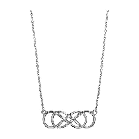 Large Sideways Double Infinity Symbol Charm and Chain, Best Friends Forever Charm, Sisters Charm, 10mm X 30mm, 18 Inches Total in Sterling Silver
