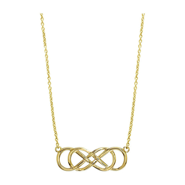 Large Double Infinity Symbol Charm and Chain, Best Friends Forever Charm, Sisters Charm, 10mm X 30mm, 18 Inches Total in 14K Yellow Gold