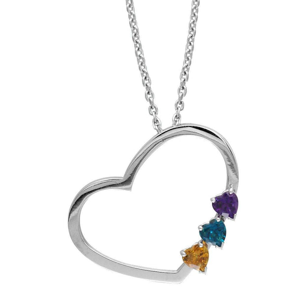Open Heart Necklace with 3 Heart Shape Gemstones in 14K White Gold
