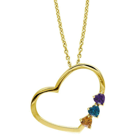 Open Heart Necklace with 3 Heart Shape Gemstones in 14K Yellow Gold