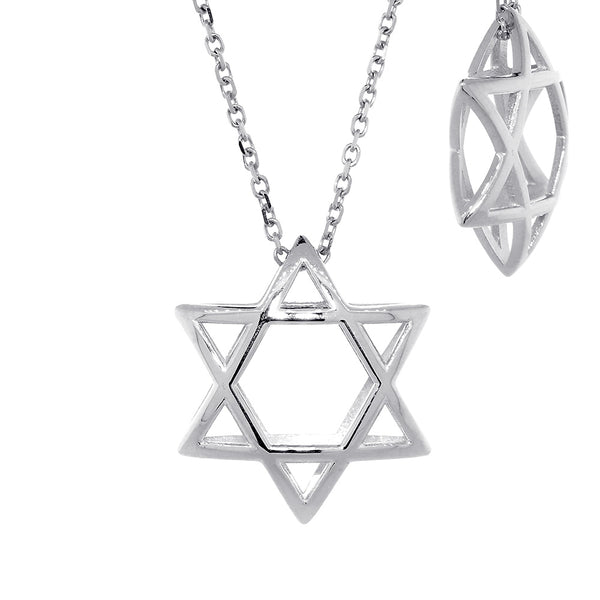 21mm 3D Open Domed Jewish Star of David Charm and 16 Inch Chain in 14k White Gold