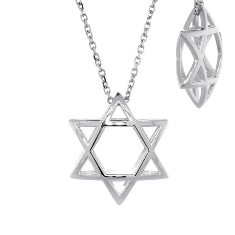 21mm 3D Open Domed Jewish Star of David Charm and 16 Inch Chain in Sterling Silver