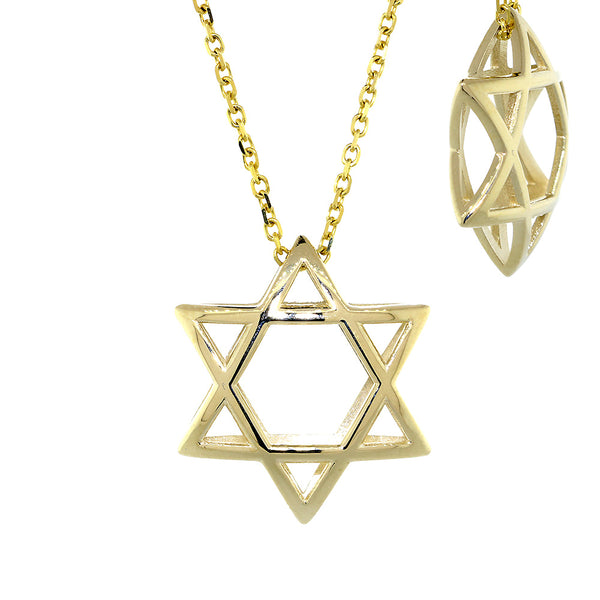 21mm 3D Open Domed Jewish Star of David Charm and 16 Inch Chain in 14k Yellow Gold