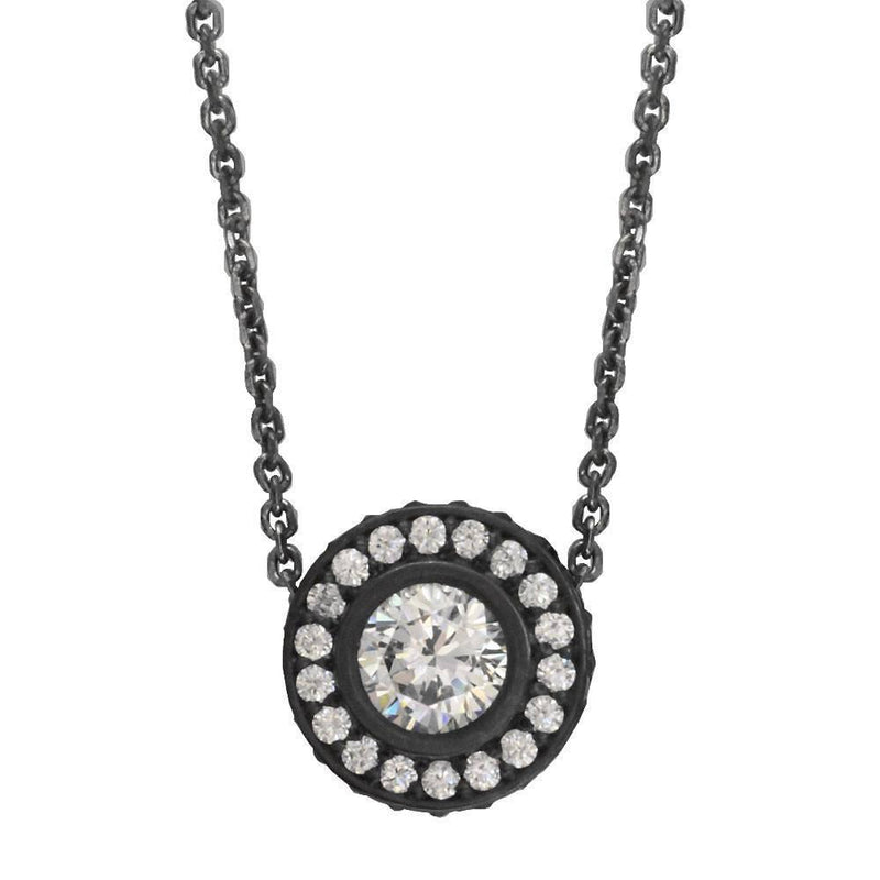 "Cubic Zirconia Halo Pendant with Black and 16"" Chain in Sterling Silver"