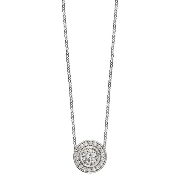 "Cubic Zirconia Halo Pendant and 16"" Chain in Sterling Silver"