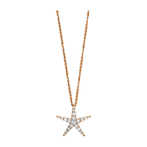 "Diamond Starfish Pendant and 16"" Chain, 0.70CT in 14k Pink Gold"