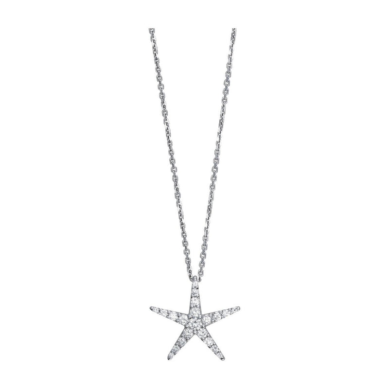 "Diamond Starfish Pendant and 16"" Chain, 0.70CT in 14k White Gold"