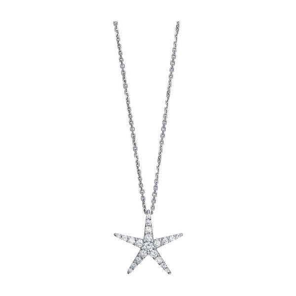 "Diamond Starfish Pendant and 16"" Chain, 0.70CT in 18k White Gold"