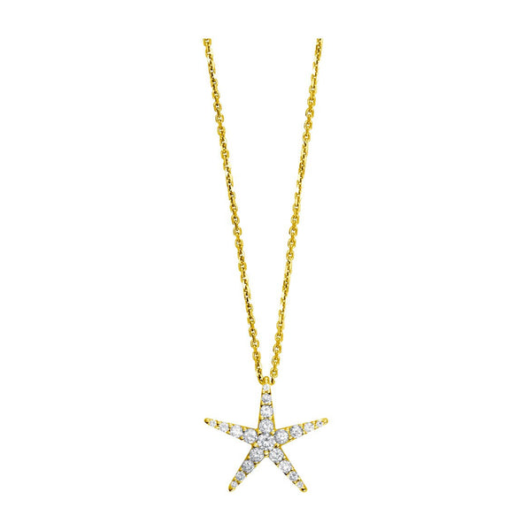 Diamond Starfish Pendant and 16