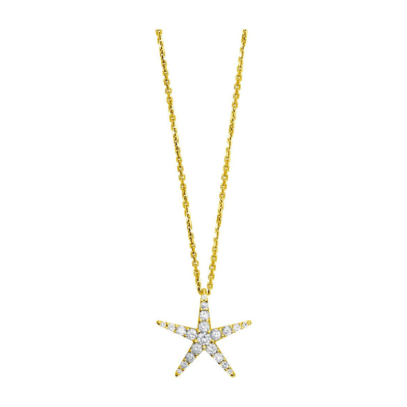 "Diamond Starfish Pendant and 16"" Chain, 0.70CT in 14k Yellow Gold"