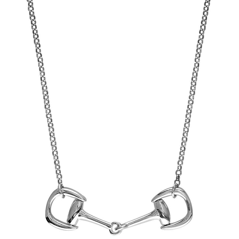 Horsebit Necklace, 18 Inches Total in 14K White Gold