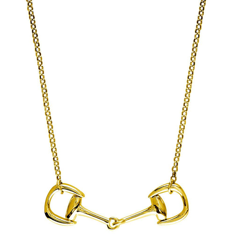 Horsebit Necklace, 18 Inches Total in 14K Yellow Gold