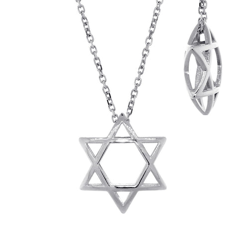 17mm 3D Open Domed Jewish Star of David Charm and 16 Inch Chain in 14k White Gold