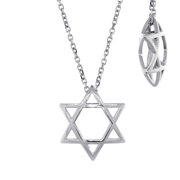 17mm 3D Open Domed Jewish Star of David Charm and 16 Inch Chain in Sterling Silver