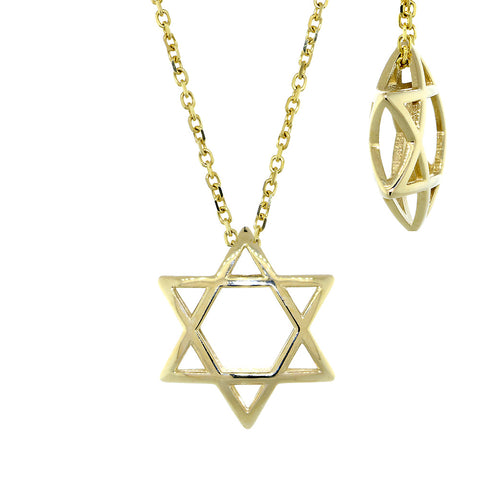 17mm 3D Open Domed Jewish Star of David Charm and 16 Inch Chain in 14k Yellow Gold