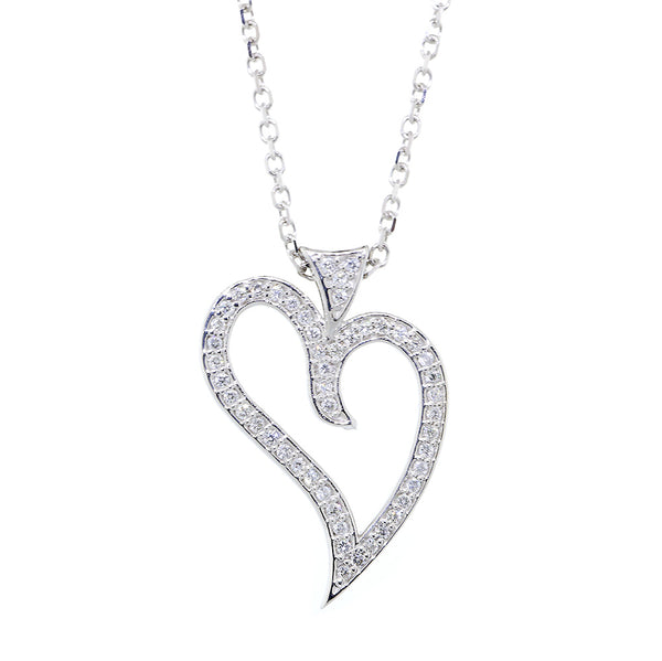 25mm Open Diamond Heart Pendant and Chain, 0.29CT, 18 Inch Chain in 14K White Gold