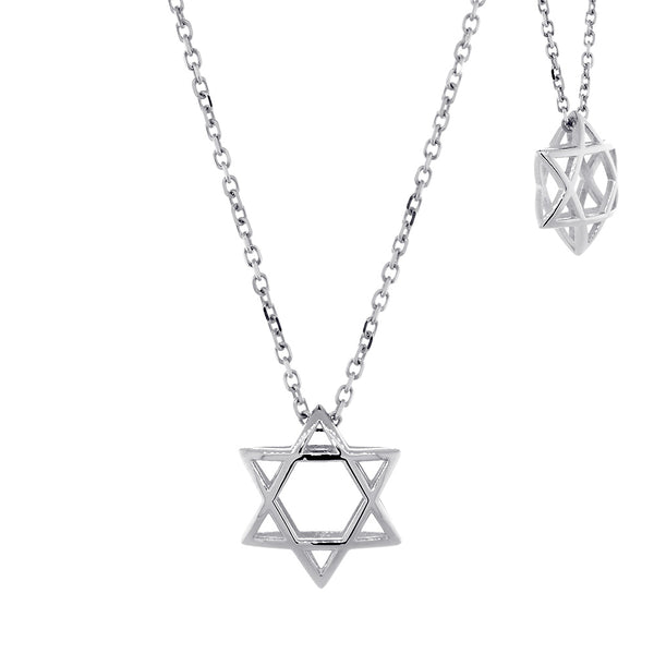 13mm 3D Open Domed Jewish Star of David Charm and 16 Inch Chain in 14k White Gold