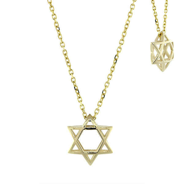 13mm 3D Open Domed Jewish Star of David Charm and 16 Inch Chain in 14k Yellow Gold