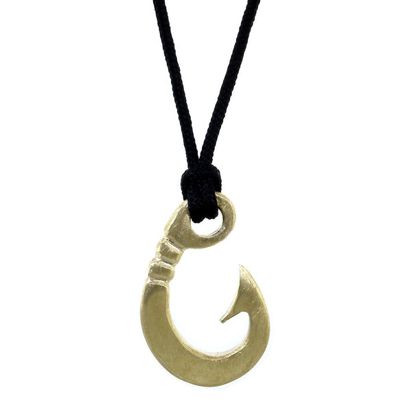 Hard Edge Fish Hook Necklace, 1.25 Inch Size by Manny Puig in Bronze
