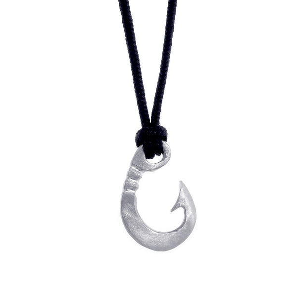 Hard Edge Fish Hook Necklace, 1 Inch Size by Manny Puig in Sterling Silver