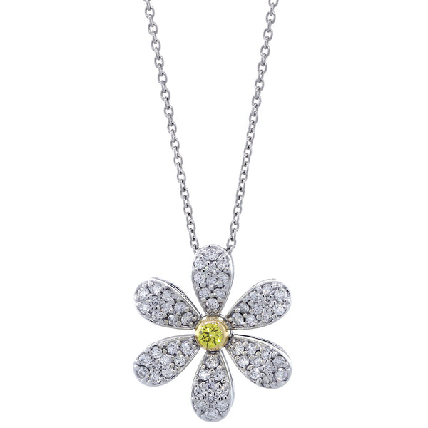 Yellow Diamond Center Daisy Pendant and Chain, 0.57CT, 18 Inches, in 14k White Gold and Yellow Gold