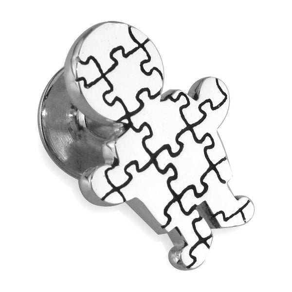 Large Autism Awareness Puzzle Boy Pin in 14k White Gold