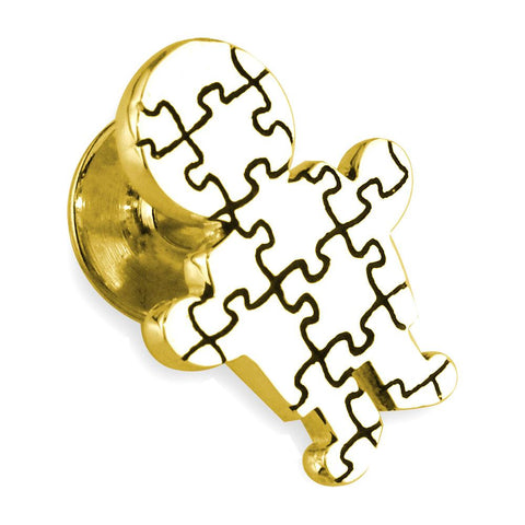 Large Autism Awareness Puzzle Boy Pin in 14k Yellow Gold