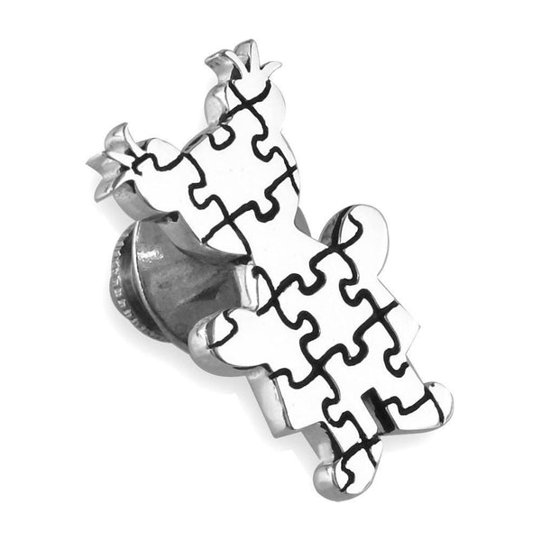 Large Autism Awareness Puzzle Girl Pin in Sterling Silver
