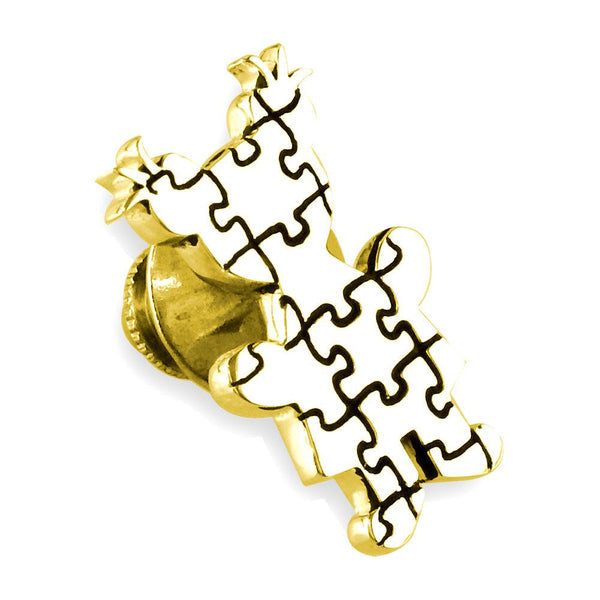 Large Autism Awareness Puzzle Girl Pin in 14k Yellow Gold