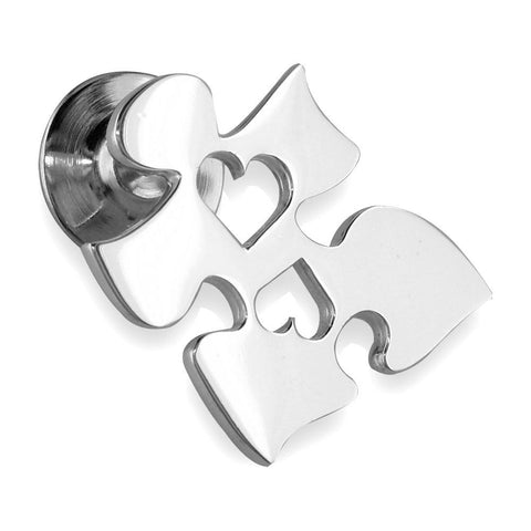 Autism Awareness Puzzle Piece Pin with 2 Open Hearts in 14k White Gold, 20mm