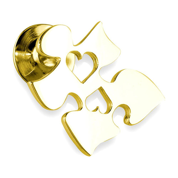 Autism Awareness Puzzle Piece Pin with 2 Open Hearts in 14k Yellow Gold, 20mm