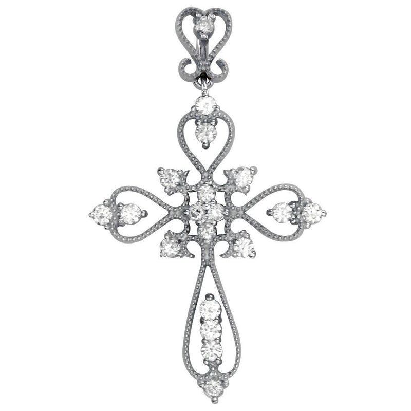 Vintage Style Diamond Cross Pendant, 0.52CT in 18K white gold